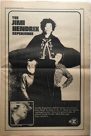 jimi hendrix newspaper 1968/ rolling stone : electric ladyland AD /october 26 1968
