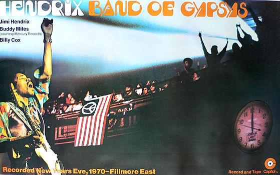 jimi hedrix memorabilia 1970 / poster promotion band of gypsys 1970 capitol