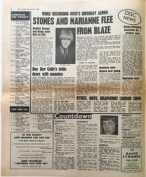 jimi hendrix newspaper collector/disc music echo june 15 1968/top ten lps smash hits N°6