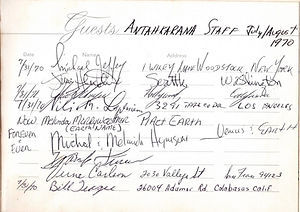 jimi hendrix collector memorabilia 1970 / hotel guestbook  antahkarana staff