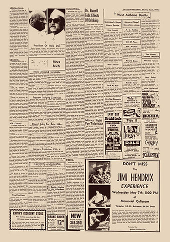 jimi hendrix newspaper 1969/the tuscaloosa news may 3 1969