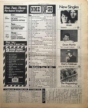 jimi hendrix newspaper 1968/ new musical express/top 15 lps/electric ladyland N°10