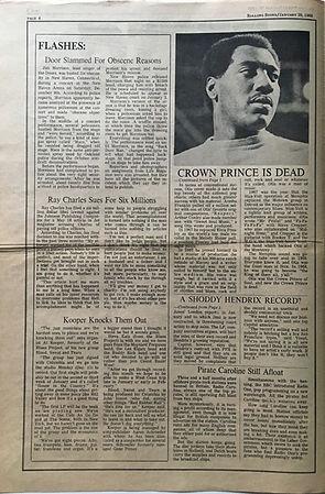 jimi hendrix newspaper/rolling stone  20/1/1968