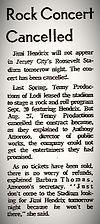 jimi hendix memorabilia 1969/jersey city sept.19, 1969