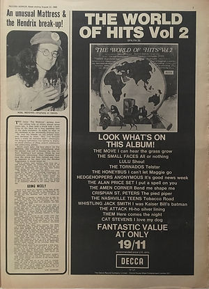 jimihendrix newspaper 1969/record mirror august 23 1969/an unusual mastress & the hendrix break-up!