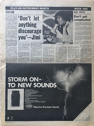 jimi hendrix collector newspaper/melody maker 28/10/67