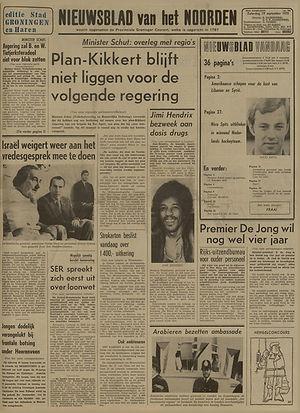 jimi hendrix newspapers 1970 / nieuwsblad van het noorden   September 19,  1970