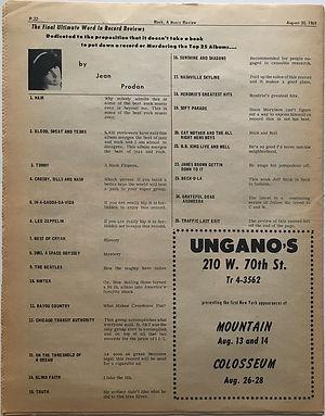 jimi hendrix newspaper1969/rock august 30 1969 :top 25 album / smash hits N°18