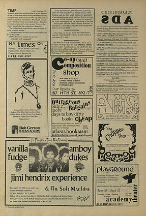 jimi hendrix newspaper/the great speckled bird  / july 19 - august 1  1968