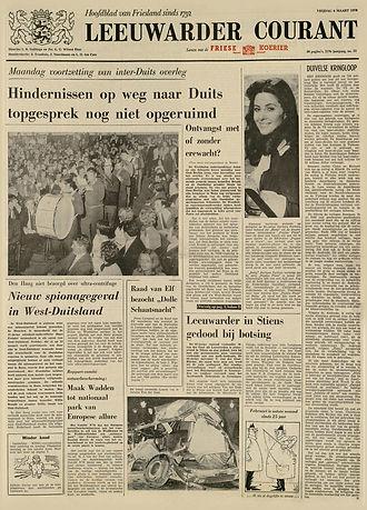 jimi hendrix newspaper 1970 / leeuwarder courant march 6,1970