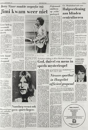 jimi hendrix newspapers 1970 / het vrije volk september 14, 1970
