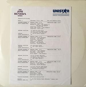 jimi hendrix vinyls album / vinyl 3 : unistar radio programming : the jimi hendrix story sept.7, 1990
