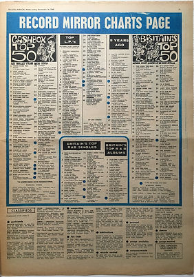 jimi hendrix newspaper 1968 / record mirror/ november 16 1968 top 50/top LPs