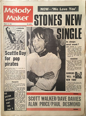 newspapers collector jimi hendrix  Melody maker 12/8/1967 pop 30