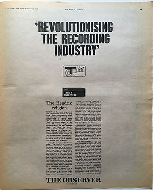 jimi hendrix newspaper 1968 / new musical express 23/11/68 revolutionising the recording industry