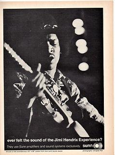 jimi hendrix magazine 1968/ hit parader november 1968 sunn ad