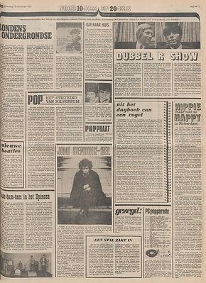 jimi hendrix newspapers 1967 / het parool  nov.18, 1967