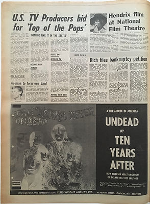 jimi hendrix newspapers/melody maker  august 17 1968/hendrix film at national film theatre