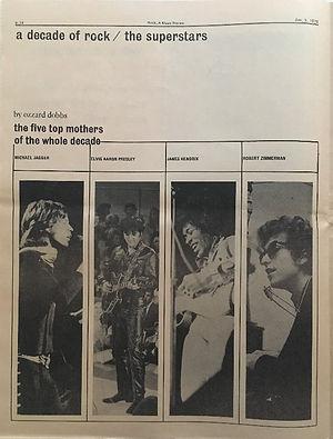 jimi hendrix newspapers 1970 /rock : jan.5, 1970 / the superstars