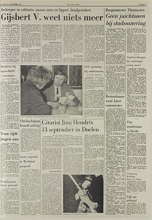 jimi hendrix newspapers 1970 / het vrije volk september 2, 1970