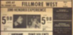 jimi hendrix memorabilia/fillmore west october 1968