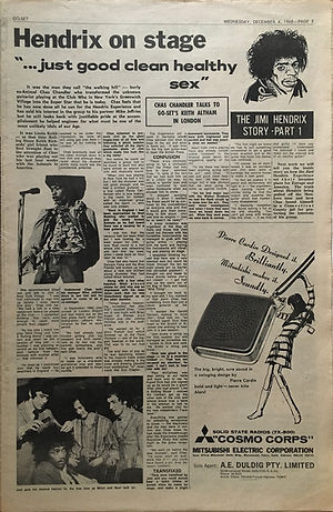 jimi hendrix newspaper 1968/go set december 4 1968