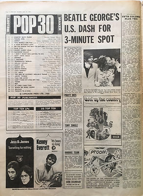 jimi hendrix newspaper/melody maker june 15 1968 top ten lps: smash hits N°6