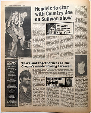 jimihendrix newspaper 1968/dis music echo november 2 1968