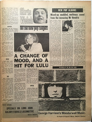 jimi hendrix newspaper 1968/ new pop albums melody maker november 9 1968