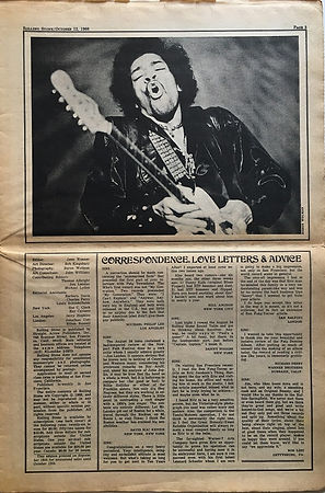 jimi hendrix newspaper 1968/rolling stone october 12 1968