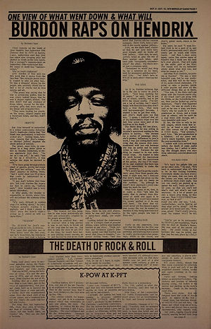 jimi hendrix newspapers 1970 / berkeley barb october 9 - 15  1970  / burdon raps on hendrix