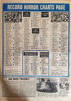 jimi hendrix newspaper/top 50 record mirror 11/2/67