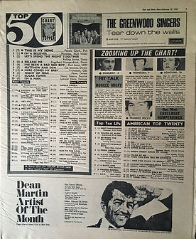 jimi hendrix newspaper 1967 / disc music echo feb.18, 1967  top 50