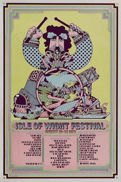 jimi hendrix memorabilia 1970/ poster isle of wight festival 1970