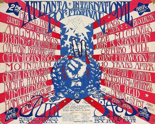 jimi hendrix memorabilia 1970/ poster atlanta pop festival 1970