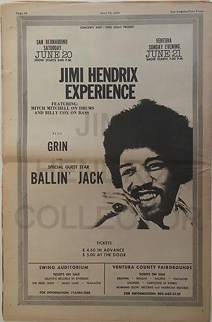 jimi hendrix newspapers 1970 / los angeles free press / june 19, 1970