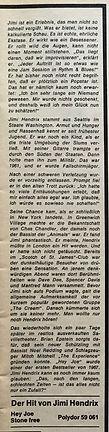 jimi hendrix magazine  1967/bravo april 3 1967
