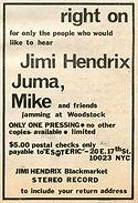 jimi hendrix collector memorabilia/bootlegs AD april 1970