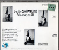 jim hendrix cds bootlegs/ guitar & amps/live at the olympia theatre paris january 29  1968