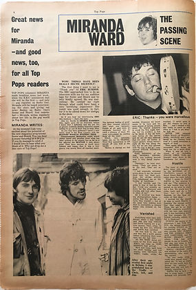 jimi hendrix collector newspapers/ top pops N°7 october 1967