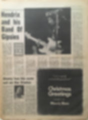 jimi hendrix newspaper 1969/melody maker / december 20, 1969 : hendrix and his band of gypsies