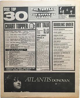 jimi hendrx newspaper 1968/ disc music echo decmber 21 1968 top 30