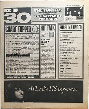 jimi hendrx newspaper 1968/ disc music echo decmber 21 1968 top 30