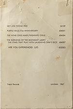 jimi hendrix rotily memorabilia/ post card promo track record 1967 for fan club