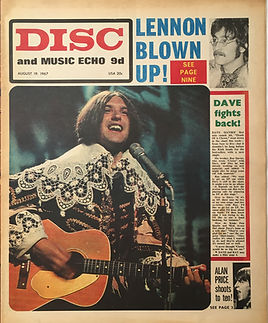 jimi hendrix newspaper collector/disc music echo 19/8/1967 burning of the midnight lamp