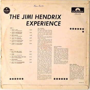 jimi hendrix rotily vinyls lp/ are you experienced 1967  south africa