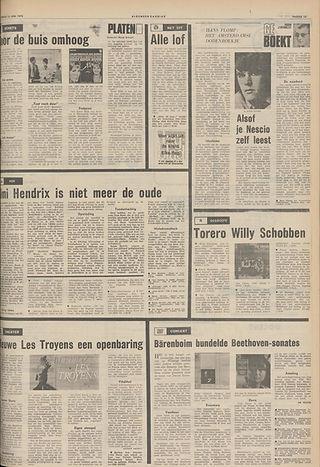 jimi hendrix newspapers 1970 / algemeen dagblad june 13, 1970