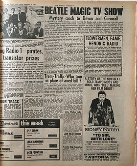 jimi hendrix collector newspapers/new musical express 9/9/1967/hendrix radio