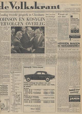 jimi hendrix newspapers 1967/ le volkskrant june 24, 1967