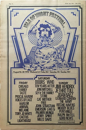 jimi hendrix newspaper 1970 / it: august 13, 1970 / ad : isle of wight festival